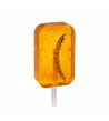Piruleta con gusano sabor naranja