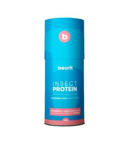 Suplemento de proteínas con insectos fresa y chocolate blanco
